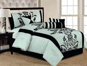 Blue Black Bedding Sets New Aqua Blue Black Floral Flocking Comforter Set