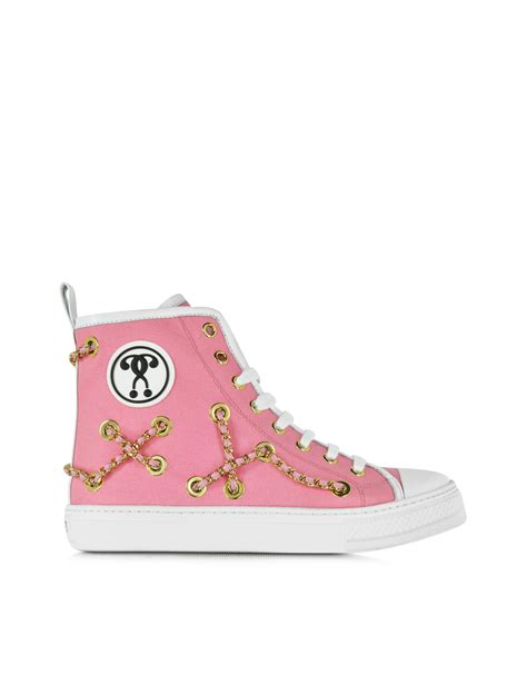 Flat Shoes Sneaker Pt01 Pink moschino pink canvas flat sneaker in pink lyst