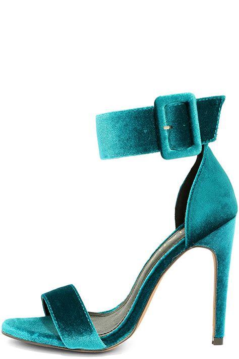 teal shoes heels teal heels velvet heels ankle heels 32 00