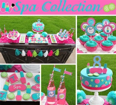 printable pink birthday party decorations spa girls birthday party decorations printable deluxe package