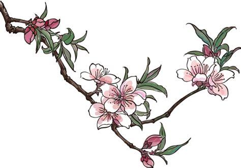 桃花水墨画