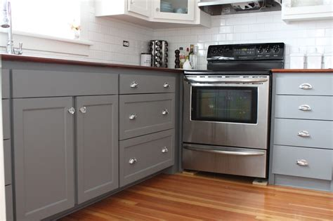 painted grey kitchen cabinets modern jane two tone cabinets reveal