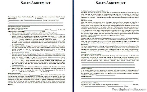 sales agreement template youth plus india