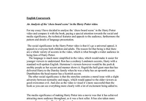 Harry Potter Analysis Essay by An Analysis Of The Chess Board In The Harry Potter A Level Media Studies