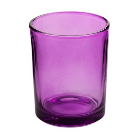 purple glass votive candle holder