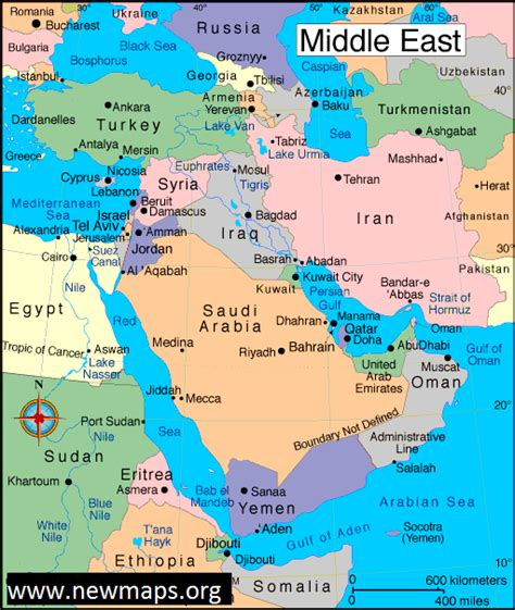 middle east map ur map of middle east