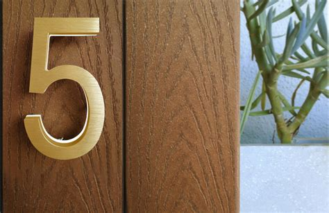 house numbers luxello modern brass led house numbers 5 surrounding com