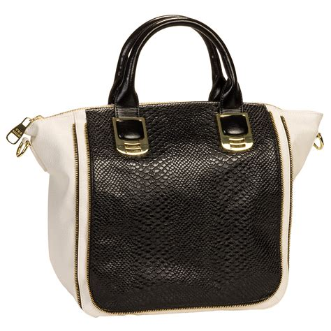 Steve Madden Purse by Steve Madden Black White Bgambet Snakeskin Satchel Tote Handbag Purse Bag New Ebay