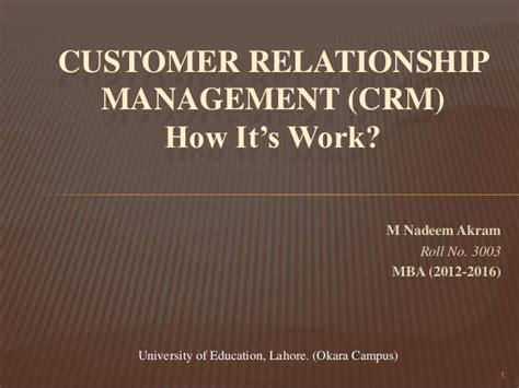 Mba Relationship by Customer Relationship Management Crm
