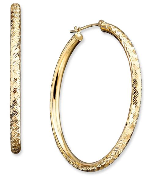 macy s 14k gold cut hoop earrings in metallic lyst