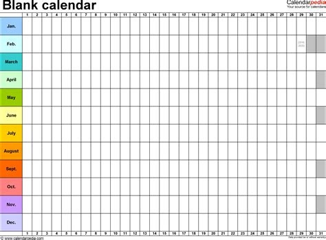 Calendar Template For Pages Blank Calendar 9 Free Printable Microsoft Excel Templates
