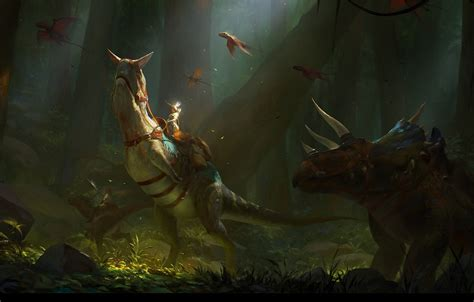wallpaper forest figure dinosaur fantasy art rider