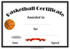 description printable certificate template for basketball with gold border and picture