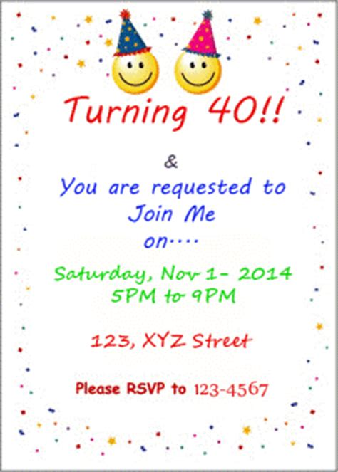 Invitation Letter To Your Friends For Your Birthday 40th Birthday Ideas