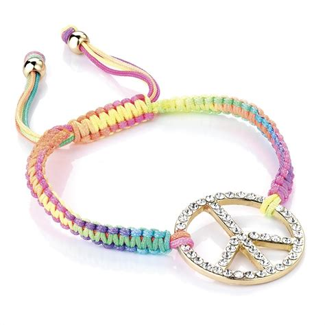 Friendship Bracelet With Charm hunt or dye neon peace charm friendship bracelet