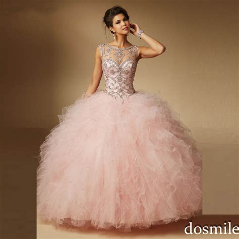 light pink puffy quinceanera dresses 2016 sweet 16 dresses sheer neck ball gown light pink red