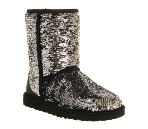 ugg classic sparkle sequined boots in metallic lyst