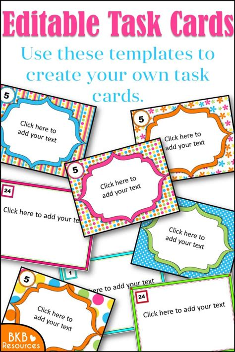How To Make Task Card Templates by Editable Task Card Templates Bkb Resources