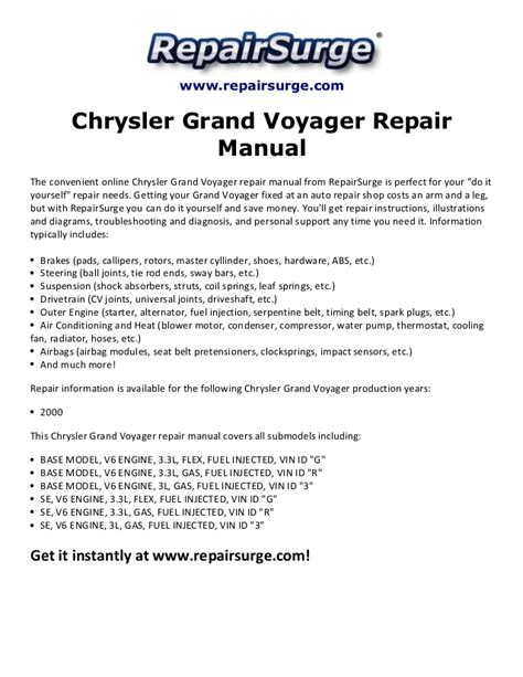 free download parts manuals 2000 chrysler grand voyager electronic toll collection chrysler grand voyager repair manual 2000