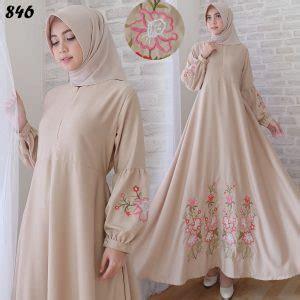 Dress Maxi Wanita Muslim Busui Polos Lengan Serut Xl Jumbo Elma baju gamis baloteli bordir c846 busana muslim remaja modern