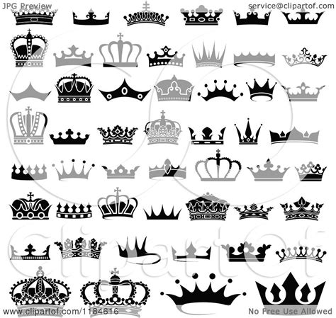 clipart of black and white crown designs royalty free