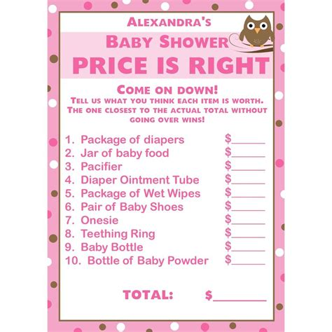 price is right bridal shower game template 24 baby shower price is right cards pink owl ebay