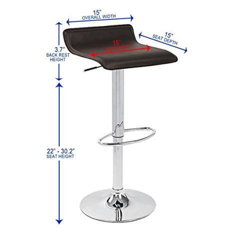 Ersand Airlift Stool by Roundhill Furniture Chrome Air Lift