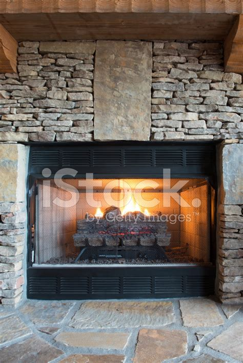 stone gas fireplace gas fireplace with stone surround stock photos