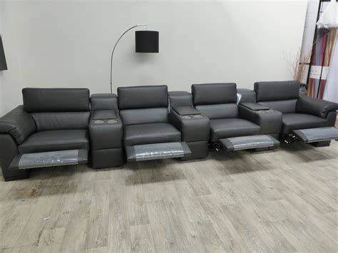 Natuzzi Leather Power Reclining Sectional by Natuzzi Editions Encore Power Reclining Cinema Seating
