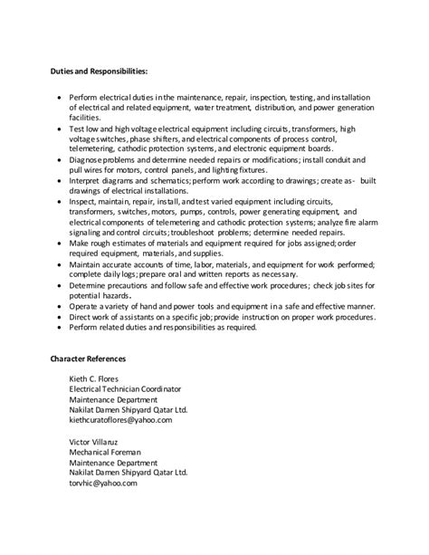 Responsibilities Of An Electrician by Electrician Duties Responsibilities Resume Resume Ideas