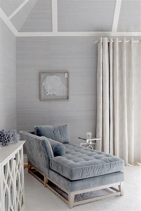 Blue velvet chaise lounge cottage living room mabley handler