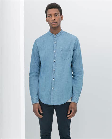 Zaraman Cotton Shirt zara mao collar denim shirt in blue for lyst