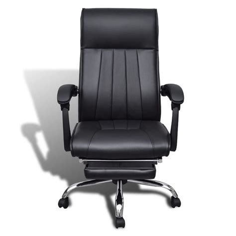 chair with footrest leather black artificial leather office chair with adjustable