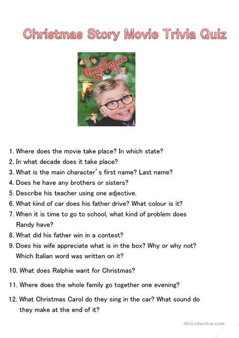 film quiz english christmas story movie trivia quiz worksheet free esl