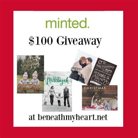 Minted Giveaway - christmas cards from minted three 100 giveaways beneath my heart