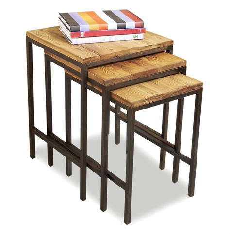 Rustic Nesting Tables by Carson Reclaimed Wood Rustic Nesting Tables Kathy Kuo Home