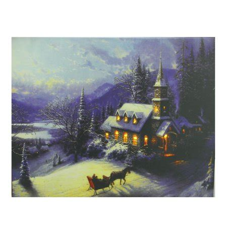 lighted church canvas led lighted church in wintry woods canvas wall 15 75 quot x 19 75 quot walmart