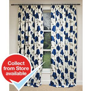 buy blue poppy design fully lined curtains at home bargains