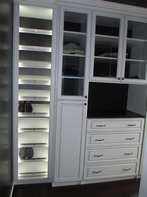 Shoe Closet With Doors Closet W Lighted Slant Shoe Shelves Glass Doors Raised Panel Door Drawers Closet Grand