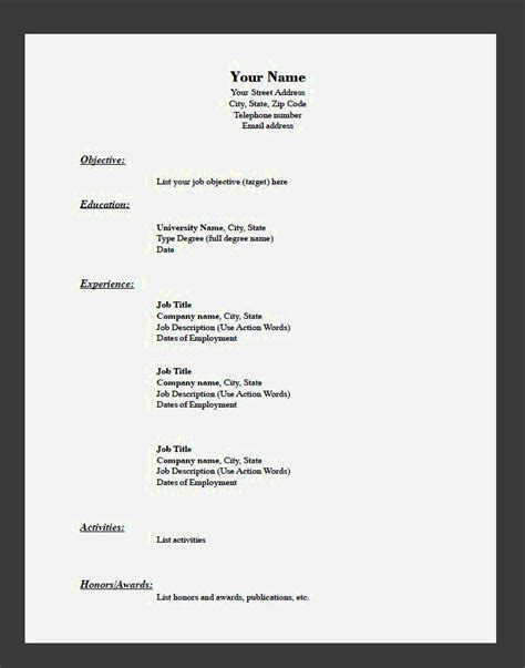 easy resume template easy resume templates with fill in the blanks resume