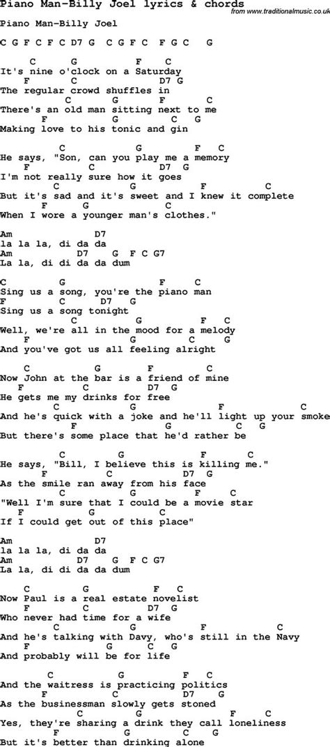 lyrics guitar chords song lyrics for piano billy joel with chords for