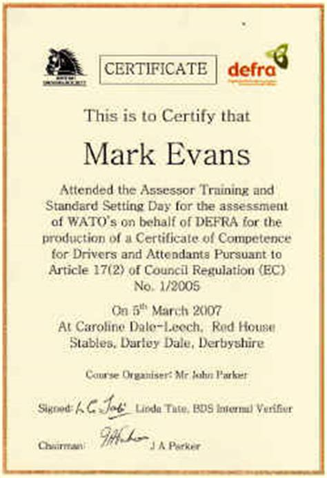 templates for certificates of competency duty of care