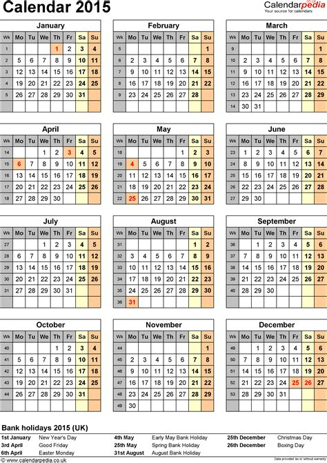 2015 free printable calendar template 2015 calendar printable free large images