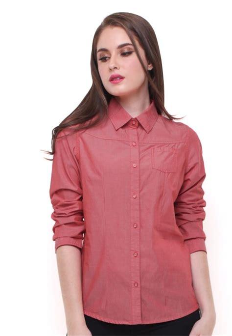 Kemeja Lengan Panjang Basic slim fit kemeja wanita lengan panjang basic merah