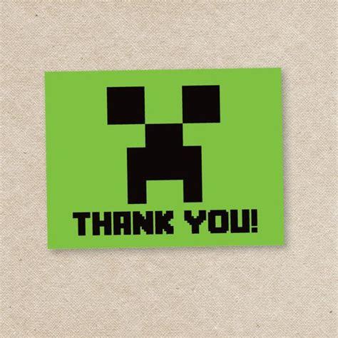 minecraft printable thank you cards pin by tina speak wawzysko on mine craft party pinterest