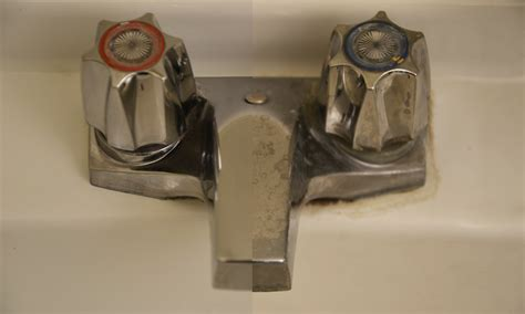 Sink On Impact calcium buildup on sinks and taps the janitorial supplies