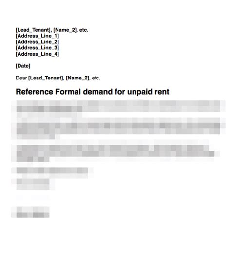Rent Demand Letter Rent Arrears Demand Second Letter Grl Landlord Association