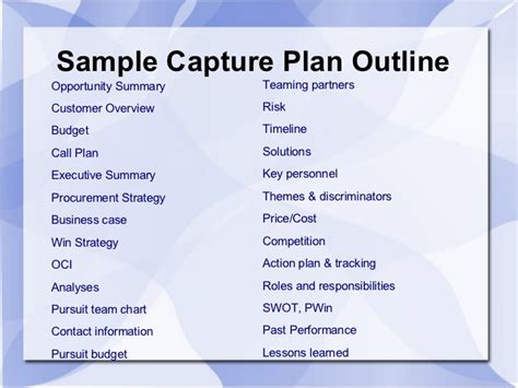 Capture Plan Template capture plan template 28 images business plan template