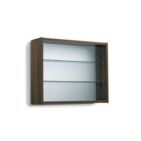 contemporary open display cabinet 2 glass shelves wall