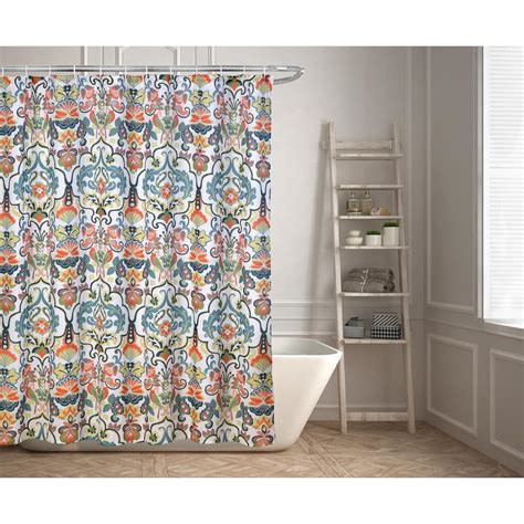 kashi home emery 70 in floral ikat shower curtain
